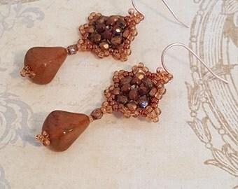 Woven Beaded Rosette Earrings-Czech Glass Teardrop-Santa Fe Artistry-Seed Beads, Fire Polished Beads