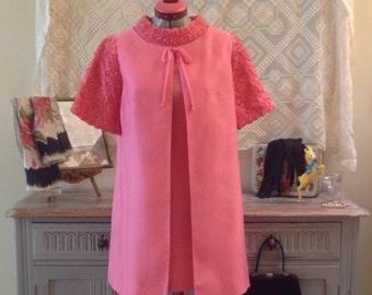 Stunning Trevola  1960s pink mad men minidress and coat suit size S vintage wedding