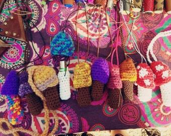 Cover of lighters mushrooms amanita muscaria pendant necklace car crochet