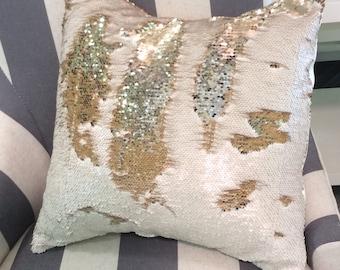Mermaid Pillow Cover-reversible sequin-throw pillow-home decor -toss pillow-sequin pillow