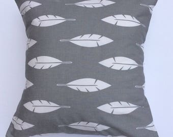 Gray and white Feathers Pillow cover throw - Decorative pillow -home gifts-throw pillow - pillow cover
