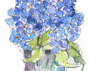 7x5 Blue Hydrangea Flower Original watercolor painting