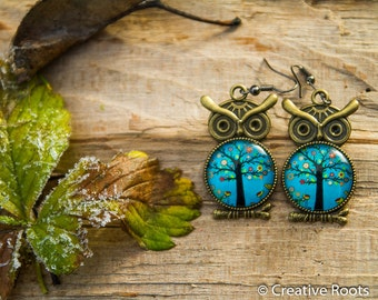 Resin Earrings with Owl - Tree Theme