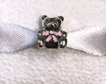 Pandora  It's A Girl Teddy Pink Enamel Charm/New/Ale/s925/Threaded Core