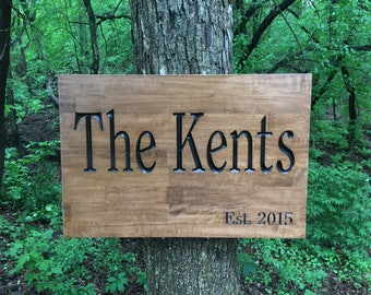 Custom Wood Carved Sign, Customized Family Name Sign, Wood Sign with Names, Personalized Wooden Sign, Father's Day Gift, Engraved Wood Sign