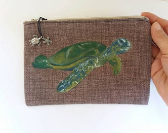 Hand-sewn cotton purse/case and painted with fabric colours. Illustration of sea turtle and starfish