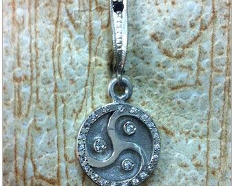 BDSM Symbol Earrings, Sterling Silver, Black Oxidized Center, 20+ white zircons, 1 black zirkon, English lock, dangle style, 2 pcs