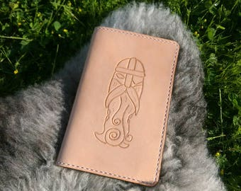 Tooled leather notebook case, Odin motif, leather notebook cover, handtooled, Moleskine, Field Notes