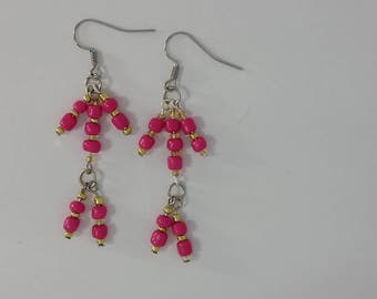 Custom hand made earrings hot pink coloured glass beads