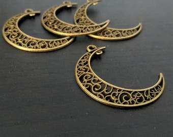 4 Moon Charms | Filigree Moon Charm | Bronze Moon Charm | Crescent Moon Charm | Lunar Charm | Ready to Ship from USA | BR261-4