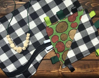 Baby Shower Gift Set Crinkle Taggie, Burp Cloth, Wooden teether