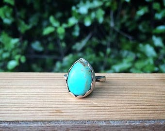 Elisa Turquoise Ring / Sterling Silver Ring / Genuine Turquoise Ring / Elisa Mine / Blue Turquoise Ring / Blue Stone Ring / Scalloped Bezel