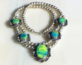 Mexican Silver Bead with Yellow Blue and Green Calcite Necklace