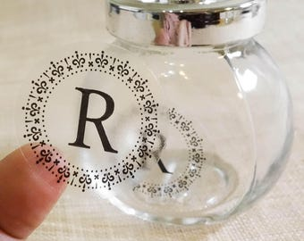 "Transparent ""Initial Letter"" Labels Stickers Seals #R4038"