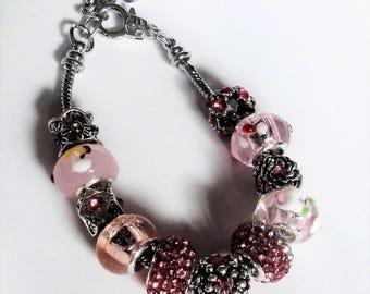 Pink European Style Bracelet Mothers Day Birthdays Snake Chain
