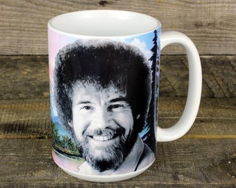 Bob Ross MUG coffee tea Happy Little Trees gifts for artists TV public access mountain scene