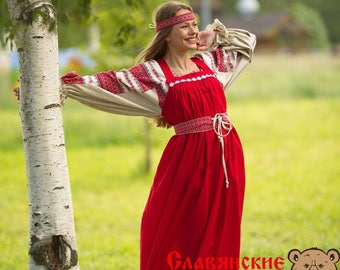 Traditional russian red sarafan, Slavic dress, linen dress, pregnant dress, floor lenght dress, sundress without sleeves