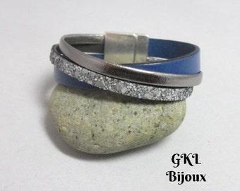 Silver/blue leather Cuff Bracelet