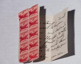 Vintage Hand Written Letter - 1941 era 6 Cent Air Mail Stamps - Wartime Hand Written Letter with ten 6 Cent Stamps