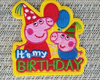 Peppa pig iron on inspired patch, Peppa pig birthday party inspired patch