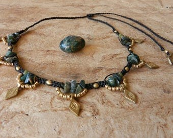 Green Agate Necklace Tribal