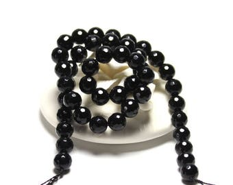 Black Agate Natural Gemstone Faceted Round Beads 4, 6, 8, 10, 12 mm for Jewelry 15.5 inches strand