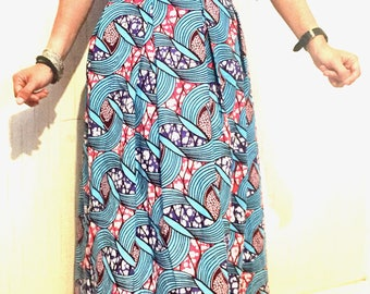 Long skirt in wax (with gathers at the waist)