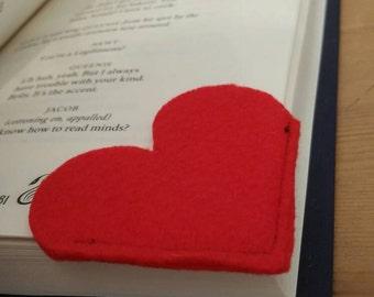 Heart shaped felt bookmark