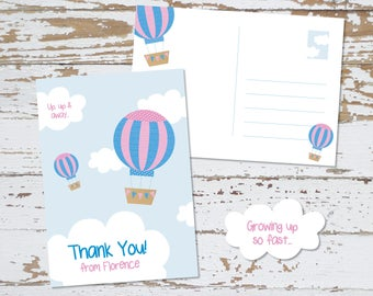 Thank You Postcards - Personalised Hot Air Balloon Theme Postcards x5
