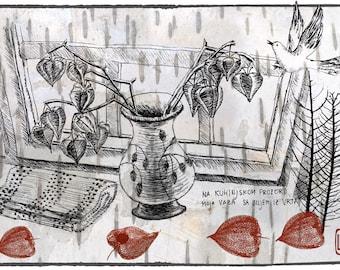 Still life drawing, printabe artwork, printable graphics, wall art printable, wall decor, unique artwork, flower vase print
