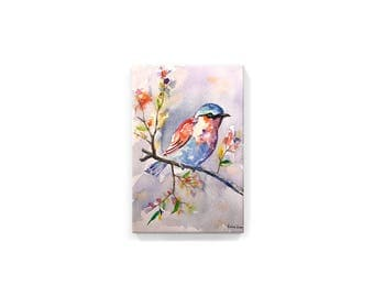 The Spring Robin (handmade watercolor printed on canvas)