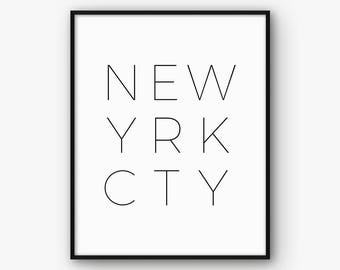 New York City Poster, Typography Print, NYC Print, Typography Poster, New York Wall Art, Typography Printable, Wall Art, New York Printable