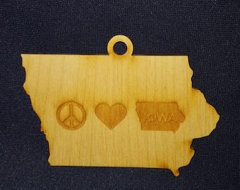 Peace love Iowa state ornament