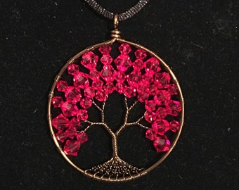 Tree of life Queen of hearts pendent