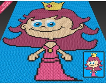 Little Princess crochet blanket pattern; c2c, cross stitch; knitting; graph; pdf download; no written counts or row-by-row instructions