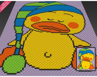 Sleeping Duckling crochet blanket pattern; c2c, cross stitch; knitting; graph; pdf download; no written counts or row-by-row instructions