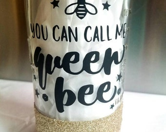 Queen bee mason jar tumbler,  24oz,  with BPA free reusable straw