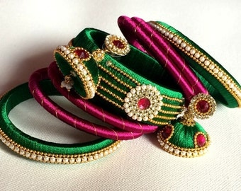 Silk Thread Bangles with Jhumka Earrings, Indian Jewelry Set - Green, Pink