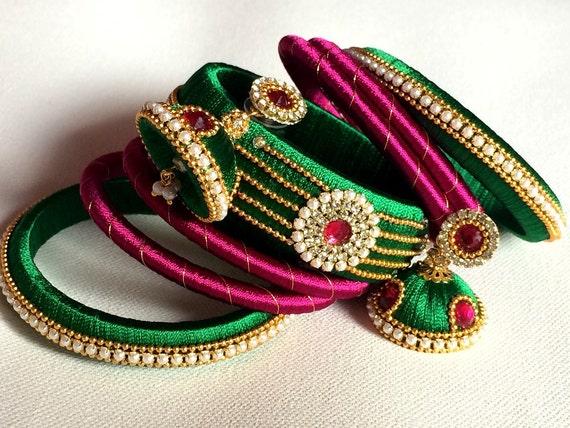 Silk Thread Bangles With Jhumka Earrings Indian Jewelry Set