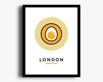 London Printable Art, Egg Print, Printable City Art, City Wall Art, Wall Art, Printable Art, City Poster, Scotch Egg, Food Art