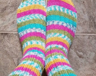 Socks: knit wool striped multicolour classic ribbed