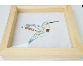 Hummingbird picture, Rhinestone crystals, Gift for him, Gift for her, Can be personalised, Gift for bird lovers, Box frames, Rhinestone gems
