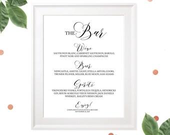 Custom Wedding Bar Menu Sign-Printable Calligraphy Bar Sign-The Bar Sign-Bar Menu Signage-Rustic Wedding Decor-DIY Wedding Reception Sign