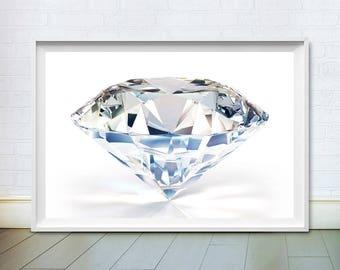 Diamond Print, Minimalist Art, Modern Wall Decor, Printable Poster, Digital Instant Download, Luxury, White Art Deco