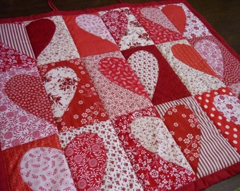 Wall panel with red hearts