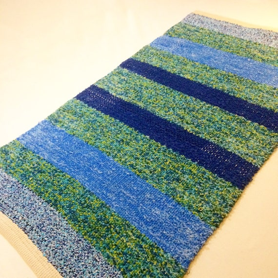 Handwoven Blue And Green Cotton Rug