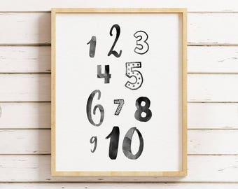 Numbers Print, Numbers Poster, Nursery Numbers Print, Black and White Nursery, Girls Room Print, Nursery Art, 123 Print, Instant Download