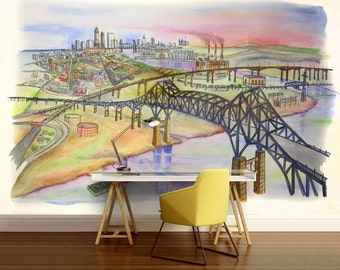 Bridge wallpaper, wallpaper painting city, drawing city wall mural, painted city wall decal, city kids wallpaper, drawing wallpaper,