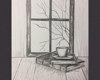 Pencil drawing, Black and white drawings, Book art, original pencil sketch, still life, graphite drawing, Coffee and Books, fall scene