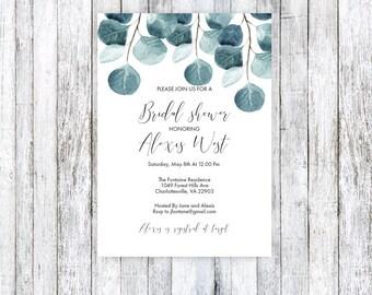 Green Bridal Shower Invitation, Printable Bridal Shower Invitation, Bridal shower printable invite, Eucalyptus invitation, Rustic Invitation